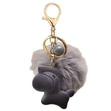 Keyring Kids Chain Bag-Pendant-Accessories Flocking Horse-Key Gift Women Cute Lovely