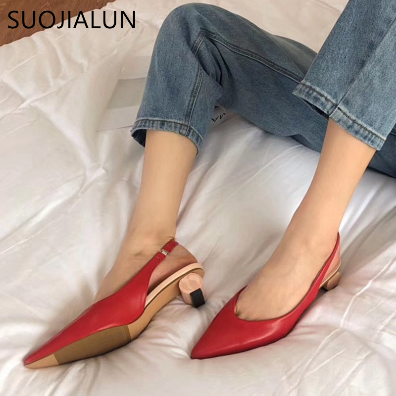 SUOJIALUN New Slingbacks Sandals Fashion Strange Style Women Elegant Mules Shoes Pointed Toe Dress Shoes Outdoor Low Heel Pumps