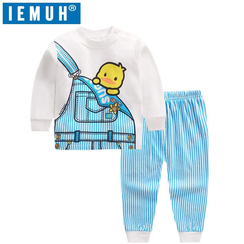 IEMUH Kids Pyjamas Baby Boys Sleepwear Kids 100% Cotton Long Sleeve Fashion Cartoon Panda Pajamas For Girls Children Clothes