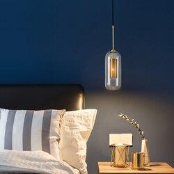 Moder LED Pendant Lamp Copper for Living Dining Room Bedroom Bedside Gold Luster Glass Bulb Hanging Light Home Decoration