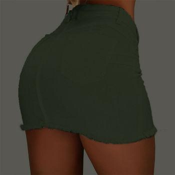 Brand New Women Stretch High Waist Solid Skirt Summer Button Denim Solid Short Mini Jeans Denim Pencil Skirts 6