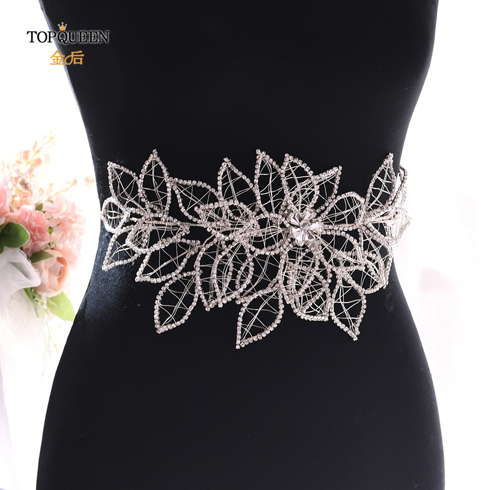 TOPQUEEN SH256-S Sparkle Belt For Dresses Bridal Rinestone Belt Silver Crystal Belt Wedding Belts For Wedding Dresses Belt