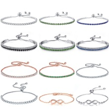UMODE Colorful Letter Chain Tennis Bracelets for Women Girls White Gold Rose Color Cubic Zirconia Femme Accesorios mujer