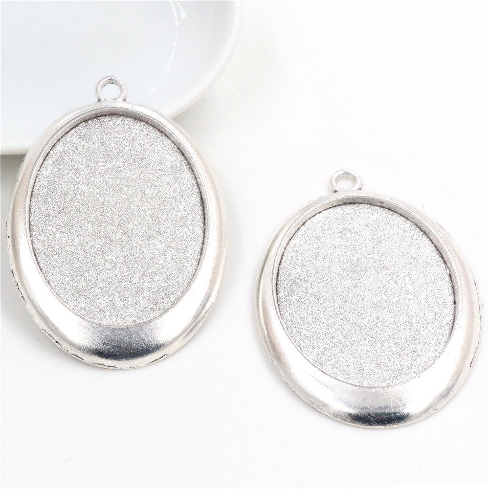 New Fashion  5pcs 30x40mm Inner Size Antique Silver Plated Simple Style Cabochon Base Setting Charms Pendant (B3-26)