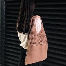 2020 새로운 여성 뜨개질 가방 솔리드 컬러 대용량 어깨 가방 패션 캐주얼 양모 니트 토트 백 핸드백