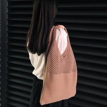 Bolso tejido calado para mujer, bolsa de hombro de gran capacidad, tejido de lana, informal, 2020