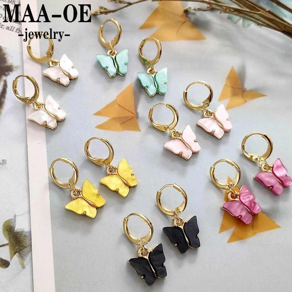 MAA-OE 2020 Fashion Multi-Warna Bentuk Kupu-kupu Anting-Anting Liontin untuk Wanita Sederhana Paduan Anting-Anting Baru Vintage Perhiasan Pesta Hadiah