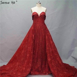 Image 2 - אדום חרוזים high end מתוק יוקרה Sparkle ערב שמלות דובאי כבוי כתף סקסי ערב שמלות 2020 Serene היל HM66578