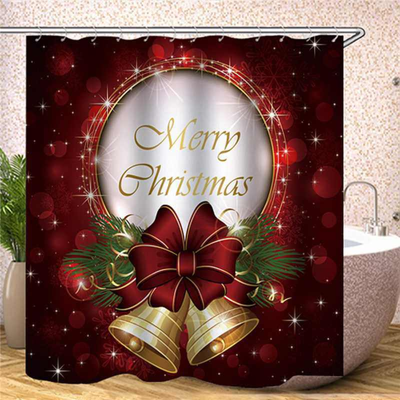 180x180cm Merry Christmas Polyester Shower Curtain Bathroom Waterproof Shower Curtain with 12 Hooks Printing Curtains