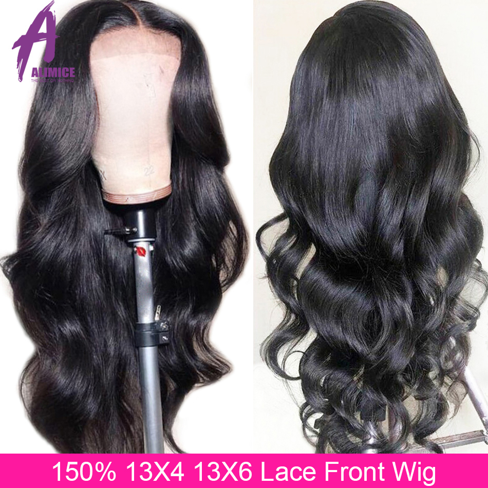 Alimice 13x6 Lace Front Human Hair Wigs 150% PrePlucked Bleached Knots Body Wave Lace Front Wig Glueless Brazilian Remy Hair Wig