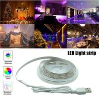 Iluminación de decoración de tiras de luz LED, lámpara cálida USB para Festival, fiesta de Navidad, dormitorio, luz nocturna Flexible de fondo, 5m