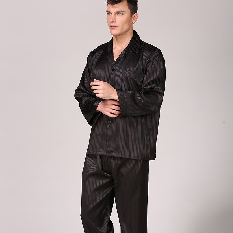 Homewear Men Pajama-Set Long-Sleeve Silk Male And 2pcs Pant