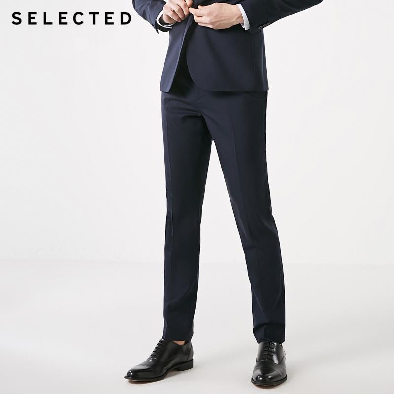 SELECTED Men's Wool Slim Fit Dark Strips Woolen Business Casual Suit Pants T|41916B507