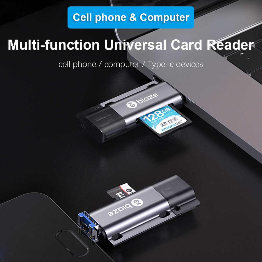 Biaze USB-C قارئ بطاقات USB 2.0 مايكرو SD TF بطاقات OTG بطاقة الذاكرة محول لأجهزة الكمبيوتر المحمول الهواتف نوع C المصغّر usb قارئ البطاقات SD
