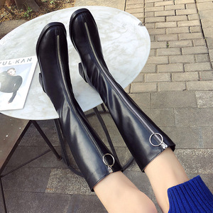 Image 4 - NOVEDAD DE MODA mujeres hasta la rodilla botas PU bajo cuadrado del dedo del pie botas de otoño e invierno cremallera sólida zapatos de las señoras