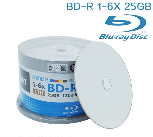 Free Shipping 6x BDR 25g Blu-ray Disc BD-R 25GB Blank Media 50pcs/lot Pack In Bags