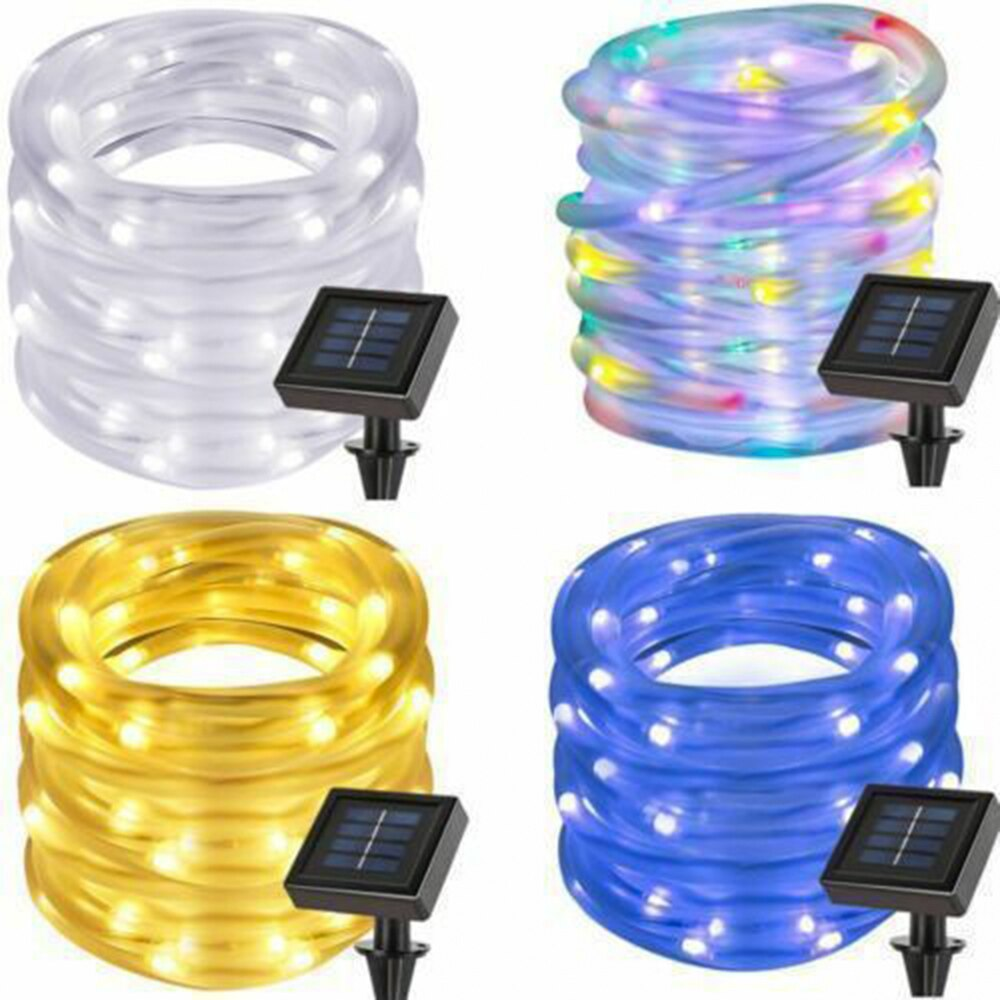 Fairy Lights Holiday 100 LED String Lights Christmas Lights Outdoor Solar Waterproof Rope Tube LED Garland Decor Party Wedding