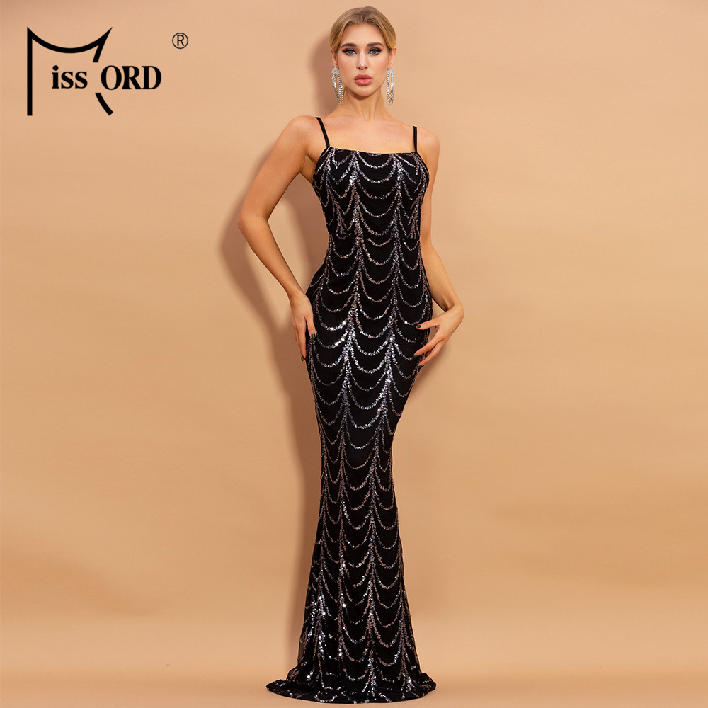 Missord 2020 Elegant Wave Elegant Sequins Women Party Dresses Spaghetti Strapless Sleeveless Bodycon Maxi Dresses M0035