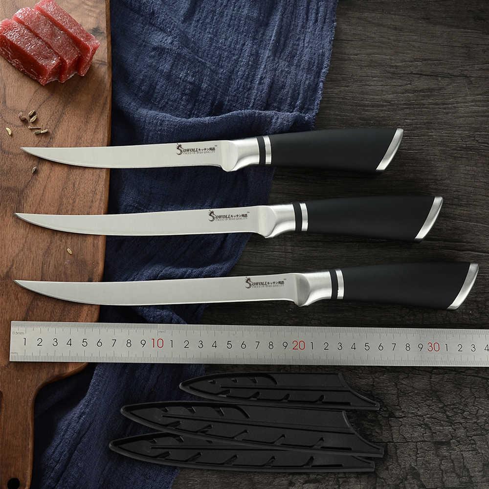 SOWOLL 6 cal 7 cal 8 cal zakrzywione trybowanie kuchnia nóż ze stali nierdzewnej kości łososia Sushi drobne surowe ryby fileting nóż narzędzie