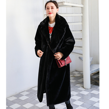 New Women Winter Warm Faux Fur Coat Thick Women Long Coat Turn Down Collar Women Warm Coat With Belt Casaco Feminino 13