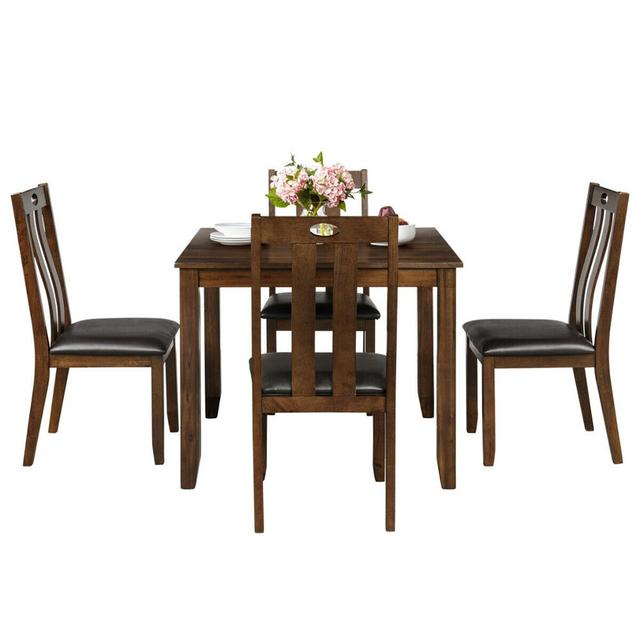 5-Piece Wood Square Dining Table Set  6