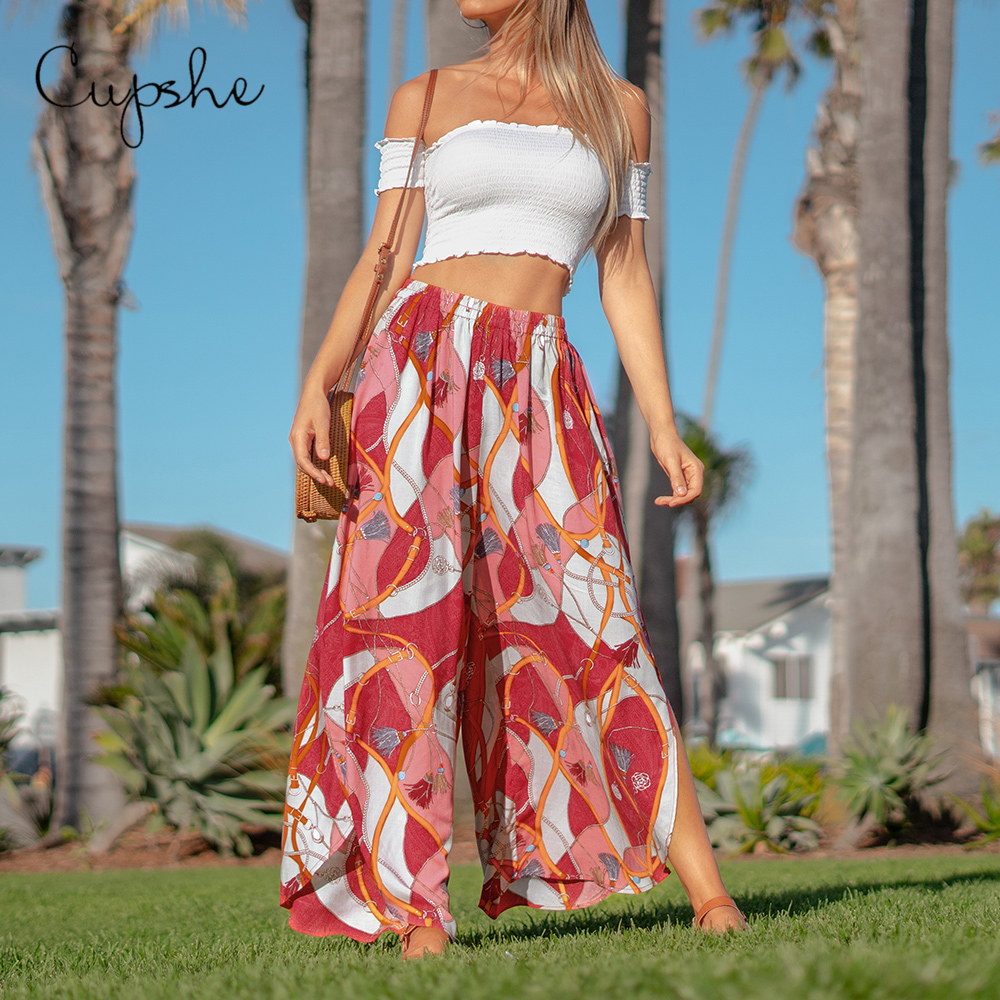 CUPSHE Boho Print   Wide     Leg     Pants   Women Sexy Elastic High Waist Casual   Pants   2019 Spring Summer Beach Holiday Split Trousers