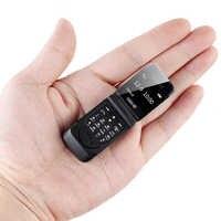 Clamshell pequeno mini flip telefone móvel bluetooth dialer botão gsm barato magia voz único sim desbloquear celular