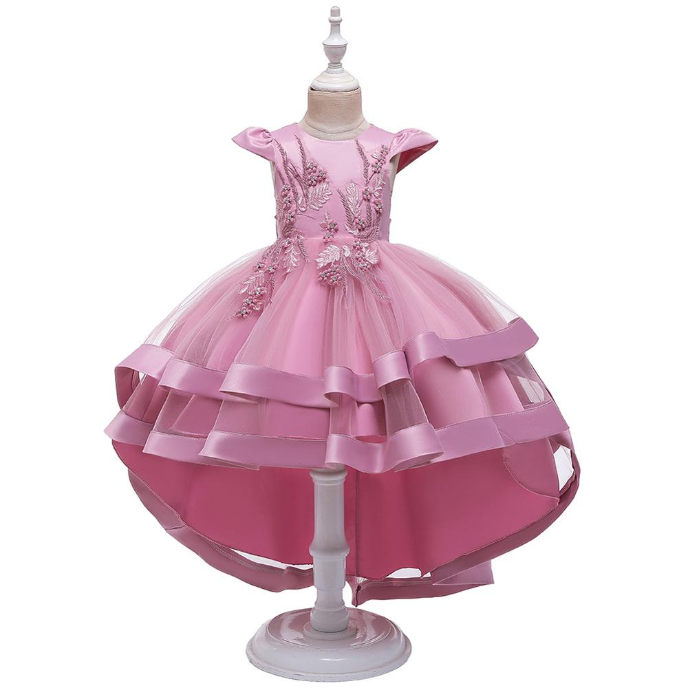 2020 Flower Girl Dress Autumn And Winter New Girls Flowers Embroidered Dress Small Flying Sleeves Tail Princess Skirt