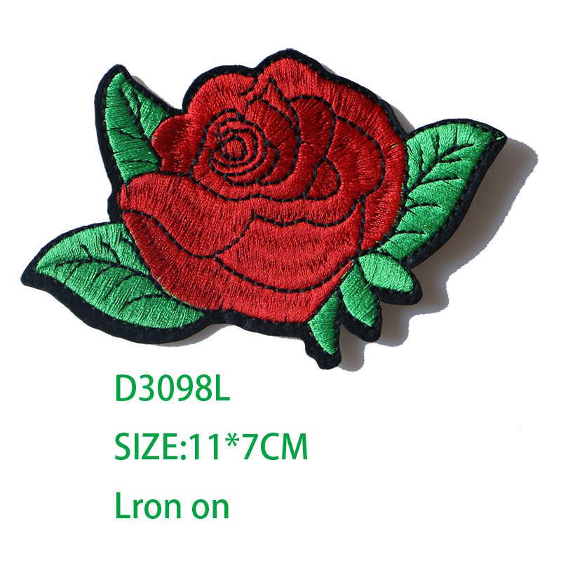 Rose mit Blätter in Liebe Bestickte Eisen auf Patches für Kleidung DIY Streifen Kleidung Patchwork Aufkleber Custom Blumen Abzeichen