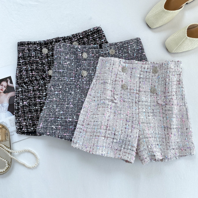 Foamlina Wide Leg Shorts Autumn Women Elegant High Waist Double Breated Tweed Shorts Ladies Vintage Short Trousers Casual Shorts