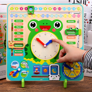 Image 2 - Montessori Wooden Toys Baby Weather Season Calendar Clock Time Cognition Preschool Educational Teaching Aids Toys For Children