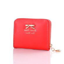 2019 Fashion Change purse Women Coin Purse Bow-knot White Zipper Short Bag Mini Leather Small Wallet