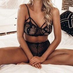 JAYCOSIN женский слинг-жилет, сексуальные кружевные трусы, бесшовный перспективный комплект нижнего белья, беспроводное нижнее белье из полиэф... 2