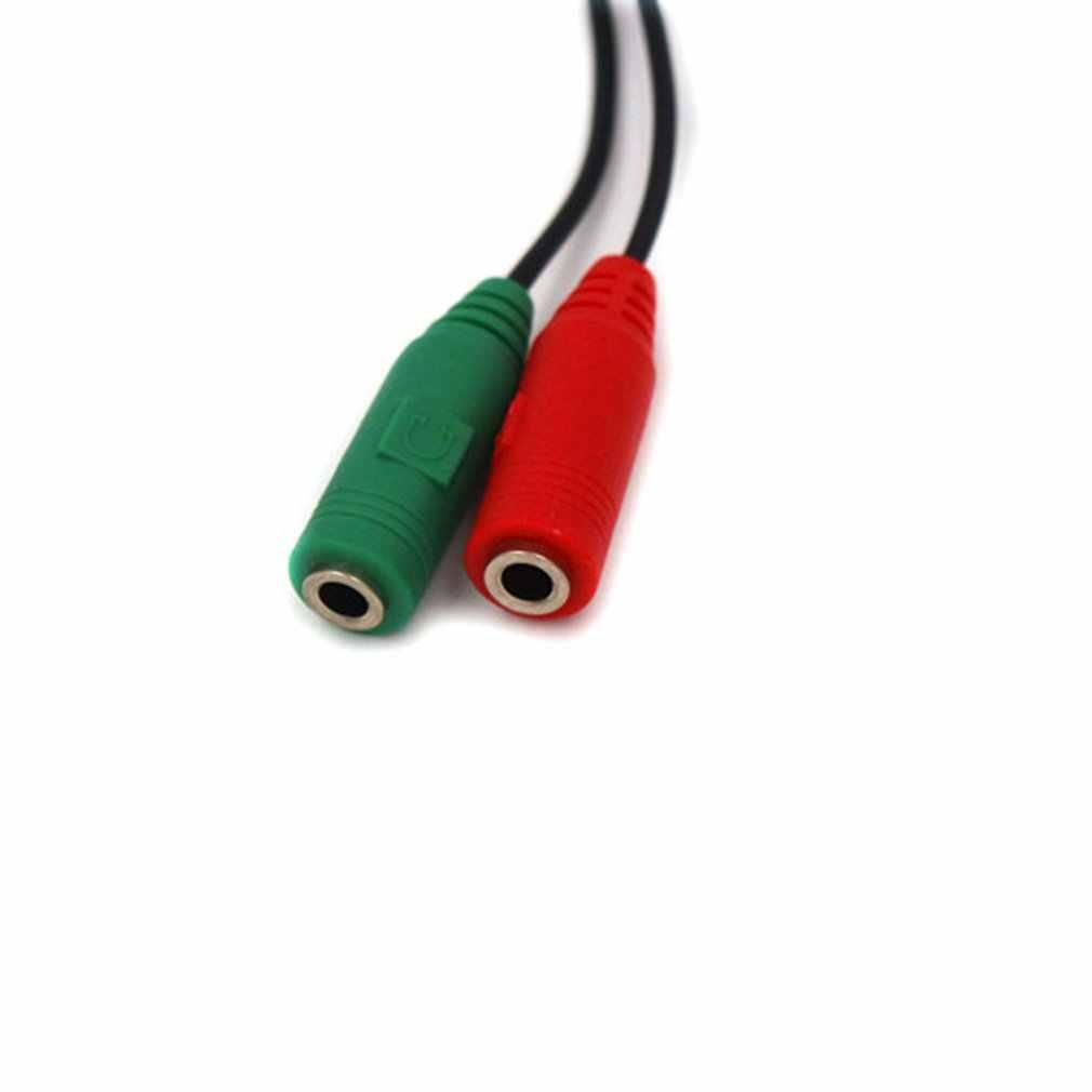 Przenośny 3.5mm 2 w 1 zestaw słuchawkowy Audio kabel adaptera żeńskiego na podwójny męski przedłużacz Y Splitter do telefonu PC MP3 MP4