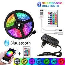 Bluetooth 30m conduziu luzes de tira 20m rgb impermeável conduziu a luz 5m 10m fita diodo dc 12v 15 2835 5050 smd rgb tira luces tira conduzida tira