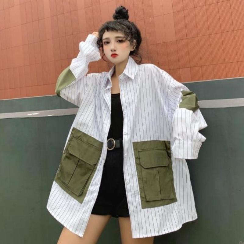 [EWQ] 2019 Spring Autumn Lapel Long Sleeve Striped Patchwork Pockets Vintage Loose Vintage Loose Shirt Women Blouse Femals AH180
