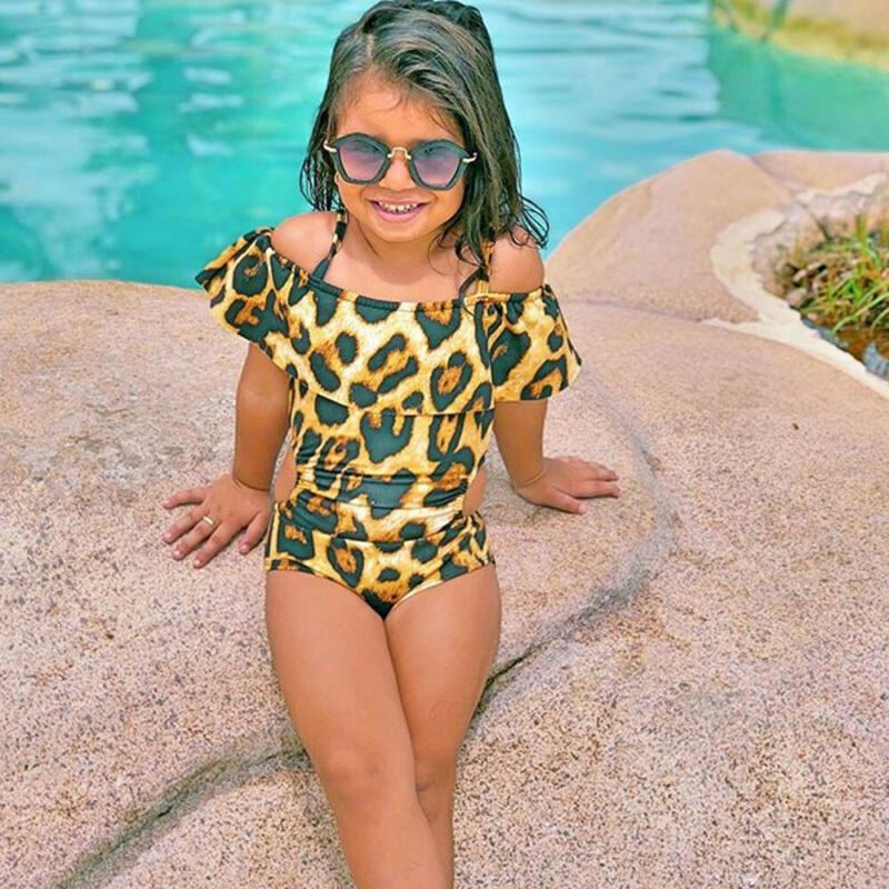 Toddler Kids Baby Girl Soild Ruffle Collar Off Shoulder Swimwear Swimsuit Bathing Suit Beachwear Leopard One Piece Swimsuit