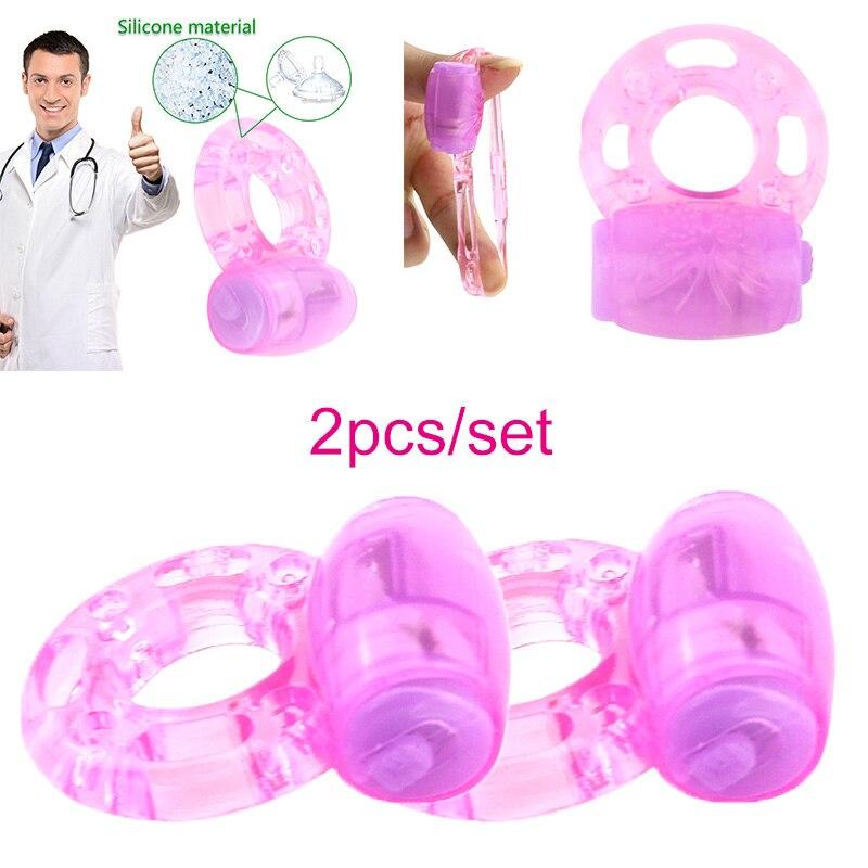2Pcs Sex Toy Vibrator Penis Ring Male Erotic Dick Cock Ring Vibrators Collars Delay Ejaculation Lock Fine Condoms Sex Products
