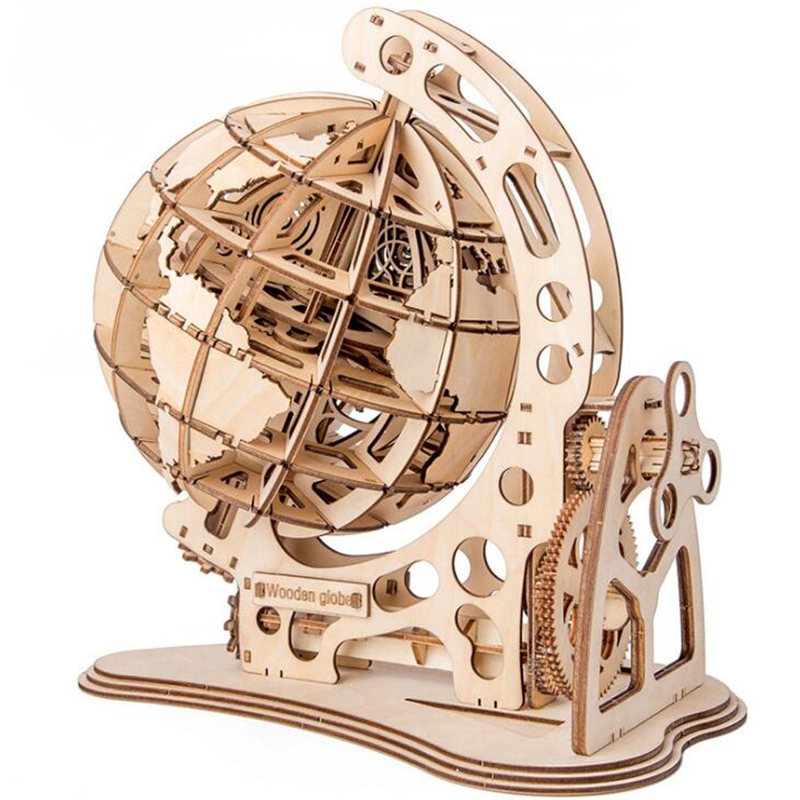 Wooden Globe Puzzles 3D DIY Mechanical Drive Model Transmission Gear Rotate Puzzles Decoration Adults toys for children 1