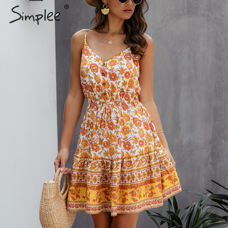 Simplee V-neck Floral Print Boho Dress Women Spaghetti Strap Female Summer Sundress A-line High Waist Ladies Beach Short Dress