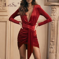 ArtSu New Women Deep V Neck Long Sleeve Red Christmas Dress Bodycon Tie Up Waist Sexy Wrap Party Dress Black Winter Velvet Dress