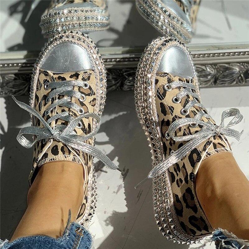 Women sneakers Leopard Rivets Shoes Women Canvas Shoes Leisure Lace-Up Low High Top Sneakers basket Femme big size women shoes