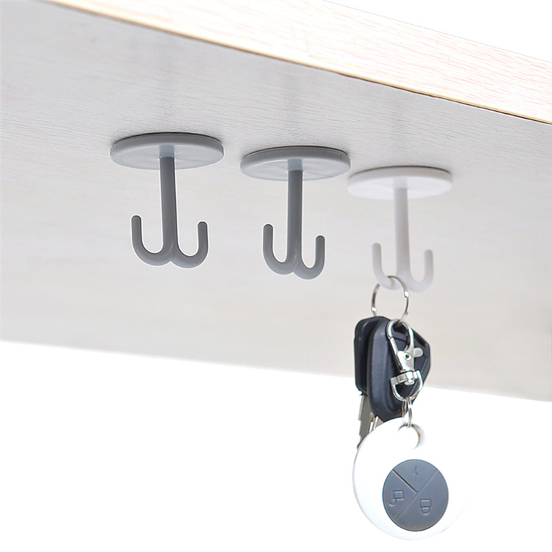 Free Punching Wall Key Holder Child Wall Coat Rack Self-adhesive Seamless Hook Strong Plastic Wall Hook Sundries Storage Hook