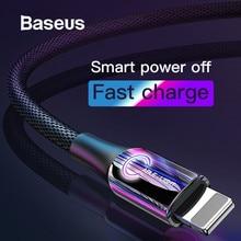 Baseus Smart power Off USB кабель для iPhone XR Xs Max 11 Pro 8Plus 2.4A Быстрая зарядка USB зарядный кабель для iPhone светодиодный кабель для передачи данных