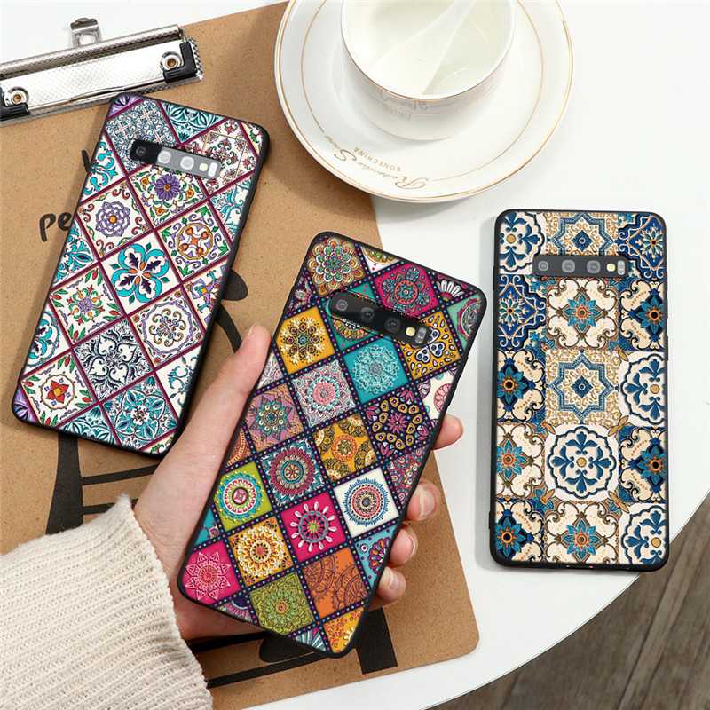 Vintage Square Case For Samsung Galaxy A71 A81 A51 A50 A40 A30 A10 A21 A60 A7 A9 S20 Ultra S10 S9 S8 Plus Note 10 9 Emboss Cover