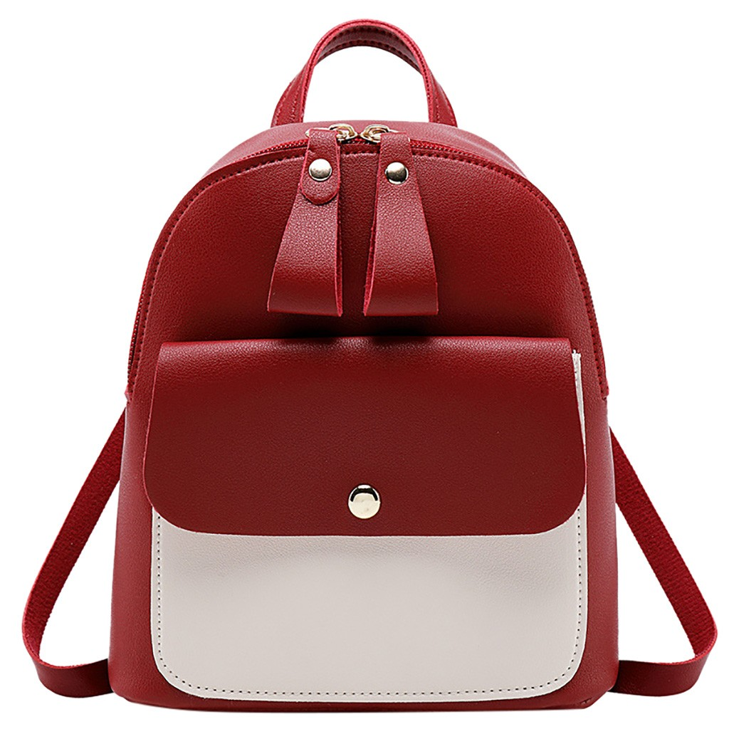 2019 Women Leather Backpack Girls Backpack Mini Backpack Women Cute Panelled Backpacks For Teenage Girls Small Bag #P
