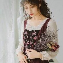 Осень Зима Новое поступление ретро круглый воротник Цветочная вышивка длинный рукав женское хлопковое длинное платье