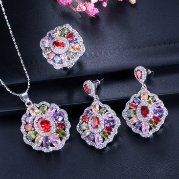 Cubic Zirconia Indian Silver 925 Jewelry Sets For Women MultiColored Big CZ Ring Necklace And Earring Ladies