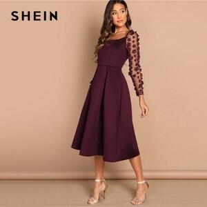 Image 4 - SHEIN Nacht Heraus Kontrast Mesh Appliques Plissee Square Neck Knielangen Kleid Herbst Moderne Dame Arbeitskleidung Frauen Kleider