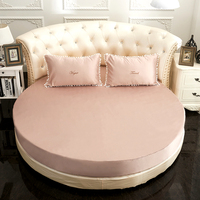 European Style Round Bed Fitted Sheet Pillowcase Solid Color Bedspread Washable Bed Cover Elastic Band Bedsheet Custom size #sw